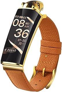 Reloj inteligente B6 con estampado de leopardo, Bluetooth 5.0, compatible con sistema iOS y Android, pulsera de llamada dos en uno y auriculares, apto para relojes deportivos en varios lugares (naranja)