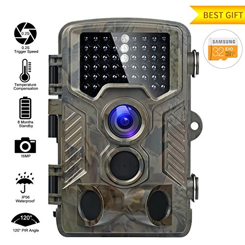 Caméra de Chasse 16MP 1080P HD Caméra Animaux de Surveillance 120°Grand Angle Imperméable IP56 Piège Photographique 20M Vision Nocturne Infrarouge 49 LEDs IR Basse Luminosité Camera de Surveillance