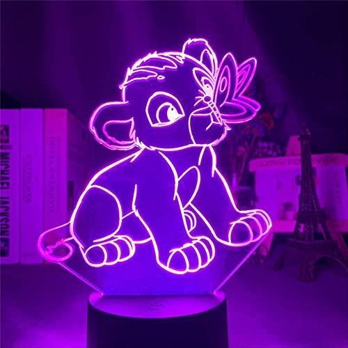 The Lion King Younger Simba Playing Scenes LED Nachtlicht für Kinder Disney 3D Licht Tischlampe für Schlafzimmer Dekoration Geschenke