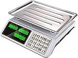GTJF Básculas De Cocina Escamas de computación de Precios electrónicos de Alta precisión 30kg / 1g Escala Digital Comercial para el Restaurante Comida Carne y Fruta