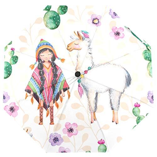 ISAOA Automatischer Reise-Regenschirm für indische Mädchen, traditioneller Poncho Lama, kompakt, Winddicht