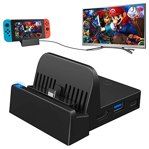 TV Docking Station for Nintendo Switch, WEGWANG Portable Mini TV Dock Station Replacement for Official Nintendo Switch with HDMI and USB 3.0 Port [2021 Upgraded Version] (HDMI CABLE IS NOT INCLUDED)