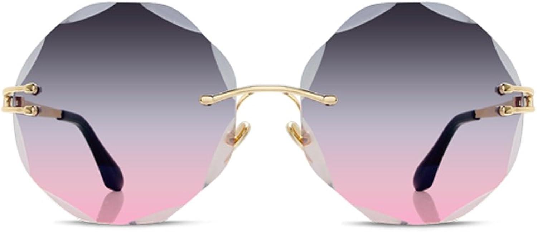 YUBINtaiyangjing Korean Version The Frameless Polygonal Sunglasses Female Small Face Box Sunglasses AntiUV Glasses (color   A)