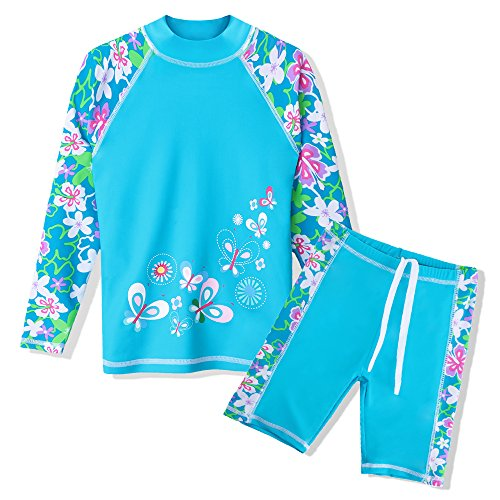 TFJH E 2 Piece Swimsuits for Girls UPF 50+ UV Sun Protetive Swimwear 9-10y Blue Flower 140/146