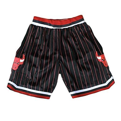 YSPORT Basketball-Shorts Chicago Bulls Fans Swingman Trikots Kurze Hose Hohe Elastizität Atmungsaktiv Und Tragbar Sommer (Color : Black, Size : M)