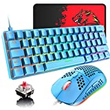 60% Wired Mechanical Gaming Keyboard and Mouse Combo, Ultra-Compact Mini 62 Keys Type C Chroma 20 Rainbow Backlit Effects,RGB Backlit 6400 DPI Lightweight Gaming Mouse with Honeycomb Shell for PC/Mac