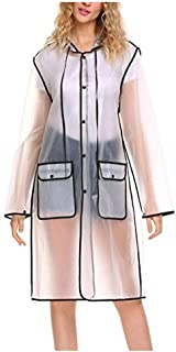 Raincoat Clear EVA Rain Jacket Poncho for Women Men Lightweight Packable Transparent Rain Cape Rainware with Drawstring Hood Black