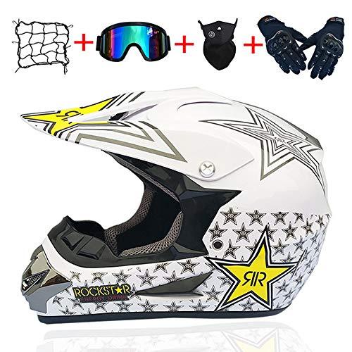 MTCTK Adulto Rockstar Motocross Casco Regalos Gafas máscara Guantes Moto Carreras Casco Cara Completa para el Hombre y la Mujer