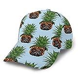 Gorra de béisbol curvada linda cara de piña pug 3D de sarga curvada ala ajustable Snapback Cap clásico deporte casual sombrero de papá para hombres y mujeres negro