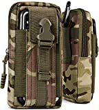 ONEFLOW® Multifunktionale Gürtel Handy-Tasche aus Oxford Nylon für alle ULEFONE Handys | Universal Handy-Gürteltasche Hülle mit Karabiner - Sport Outdoor Handyhülle, Camo-Grün (Camouflage)