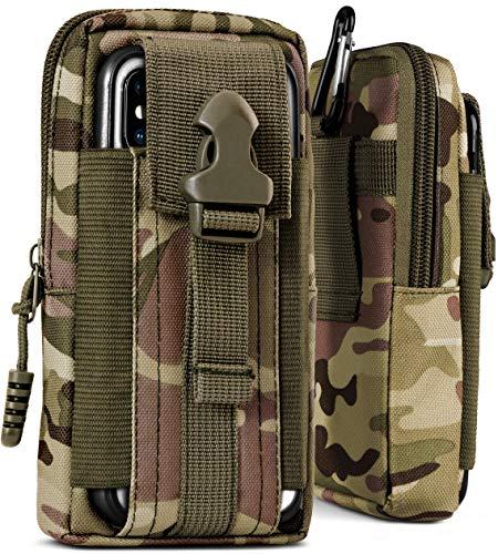 ONEFLOW® Multifunktionale Gürtel Handy-Tasche aus Oxford Nylon für Samsung A + J Reihe | Universal Handy-Gürteltasche Hülle mit Karabiner - Sport Outdoor Handyhülle, Camo-Grün (Camouflage)