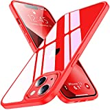 Comeproof Kristallklar Hülle Kompatibel mit iPhone 13 Hülle, [6,1''], [Vergilbungsfrei] Stoßfest Kratzfest iPhone 13 Handyhülle Durchsichtig Superdünn Schutzhülle iPhone 13 Hülle (rot)