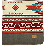 Inca Ecuadorian Blanket - Aztec/Mexican/Southwest Artisanal Style - Use As Fall Throw Blanket, Camp Blanket, or Cover for Indoors and Outdoors (Gray Brown, Medium)