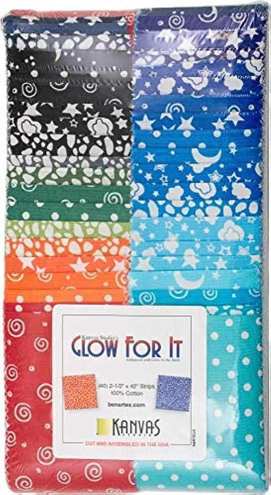 Kanvas Studio Glow for It Strip-Pies 40 2.5-inch Strips Jelly Roll Benartex, Assorted