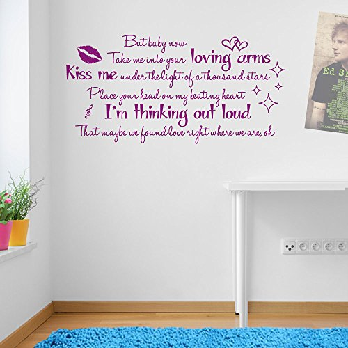 Thinking Out Loud Ed Sheeran Quote Song Music Lyrics Sticker Wall Art Vinyl Ed Sheeran Thinking Out Loud Lyrics Wall Window Room by Vinyl Concept