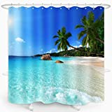 ZXMBF Ocean Beach Duschvorhang blauer Himmel Meer tropische Palmen Küste Landschaft Badvorhang wasserdichter Stoff Badezimmer Dekor 183 x 183 cm Kunststoffhaken 12 Stück Ozeanblau