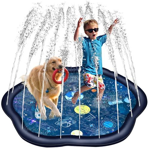 Splash Pad, 170x154cm, Umweltfreundliche PVC-Sprinkler Play Matte, rutschfeste Sprinkler-Matte für Kinder ab 3 Jahre, Outdoor Splash Spielmatte Aufblasbar, Große Wassersprühen Spielmatte
