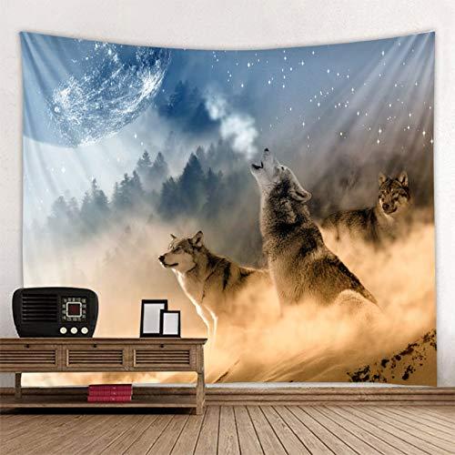 JXWR Acostado Lobo Bestia Santa Tapiz decoración Colgante de Pared león Lobo Tigre patrón de Fondo Tapiz de Pared Textiles para el hogar 150x130 cm