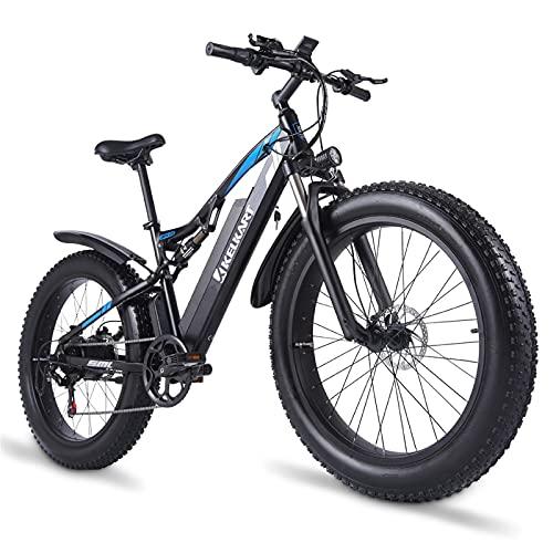 KELKART Bicicleta Eléctrica 48V 1000W para Adultos Bicicleta de Montaña con Neumáticos Gordos con Sistema de Freno Hidráulico Delantero Trasero Xod