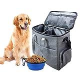 Set da campeggio per cani e gatti, 2 contenitori per alimenti pieghevoli, borsa per il trasporto approvata dalla compagnia aerea, borsa da viaggio multifunzione per animali domestici