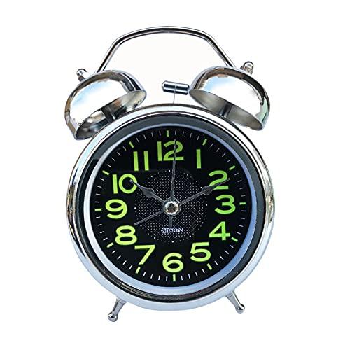 Srfghjs Reloj Despertador Reloj Despertador analógico Vintage Retro clásico Noche luz Extra Fuerte Gemelo Campana Despertador para niños