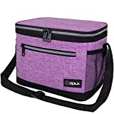 OPUX Insulated Lunch Box for Women Men, Leakproof Thermal Lunch Bag for Work, Reusable Lunch Cooler Tote, Soft School Lunch Pail for Kids with Shoulder Strap, Pockets, 14 Cans, 8L, Purple