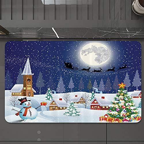 Bath Mat 50 x 80 cm Non-Slip Bathroom Mat,Christmas,Winter Season Snowman Xmas Tree Santa Sleigh Moon Present Boxes Snow ,Super Absorbent Water,Machine-Washable,Microfiber Absorbent Bathroom Floor Mat