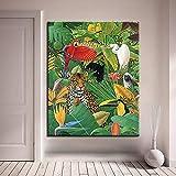 ganlanshu Pintura sin Marco Arte de Pared Digital Dibujo Imagen de Loro Leopardo de Figuras de Animales Tropicales decoración del hogarCGQ8429 60X75cm