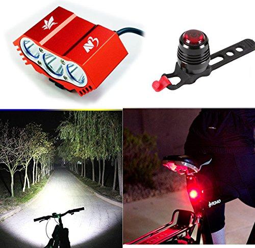 LED Luz de la bicicleta bici Linterna LáMPARA TORCH frontal Cabeza /Cree 3X lúmenes LED de bicicleta /bici lámpara de bicicleta (3 focos, 4 modos) & Luz Lámpara Trasera para Bici Bicicleta