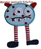 Monster Gestreift 5X7cm Aufbügler Flicken Patch Kleider Aufnäher Bügelbild Stoff zum Bügeln auf Türschild Decke Hosen Fahne Hemd Kleider Kappe Rock Turnsack Halstuch Wimpel Rucksack...