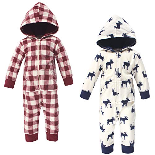 Little Treasure Unisex Baby Fleece Jumpsuits and Coveralls, Moose Baby, 9-12 Months