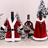 2PCS Christmas Wine Bottle Cover Sweater Collar Button Coat Chrstimas Tree Robe Dress Sets Wine Gifts Bags for Christmas Party Decorations Xmas Wine Bottle Bags (Red)