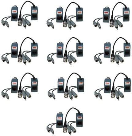 VideoSecu 10 Pairs of Audio Video Power Balun Network Transceivers for CCTV Security Camera M51