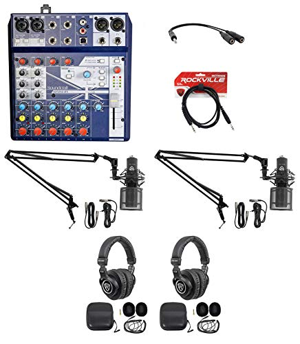 2) Person Podcasting Podcast Bundle Soundcraft Mixer+Headphones+Pro Mic+Boom Arm