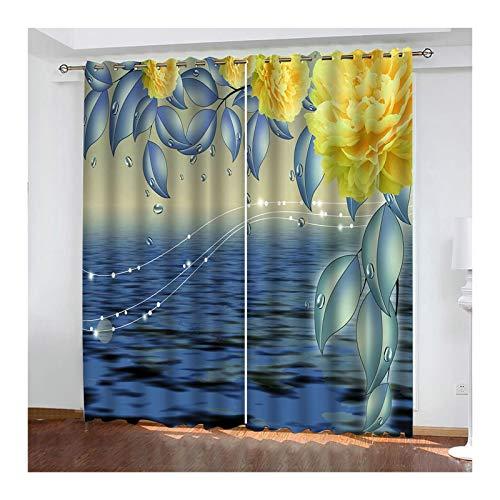 Knbob Polyester Vorhang Gelb und Blau Ozean und Blume Vorhänge für Wohnzimmer Modern Größe 214x214CM