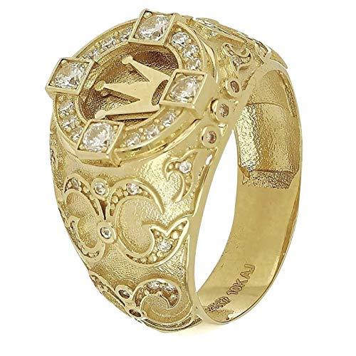 Dorical Herren Ring Kronenring, Preferred Fashion Hip Hop Gold Iced Out Crown Ring für Herren Verlobung Hochzeit Party Ringe Schmuck für Geburtstag, Valentinstag, Jahrestag