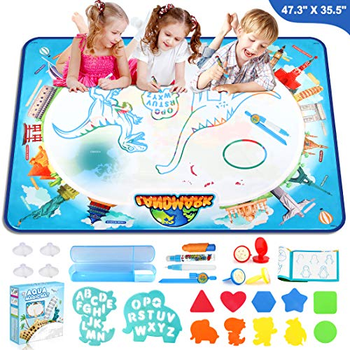 Growsly Aqua Magic Mat 47.3 X 35.5 Inches Extra Large Painting Water Drawing Mat Water Doodle Coloring Mat Educational Toys Gifts for Kids Toddlers Boys Girls Age 3 4 5 6 7 8 + Years Old