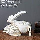 Bloque de escultura creativo europeo para el hogar decoración suave afortunada decoración vino gabinete sala clave almacenamiento puerta zapatero Xuan E13-WX759-blanco antiguo 750g