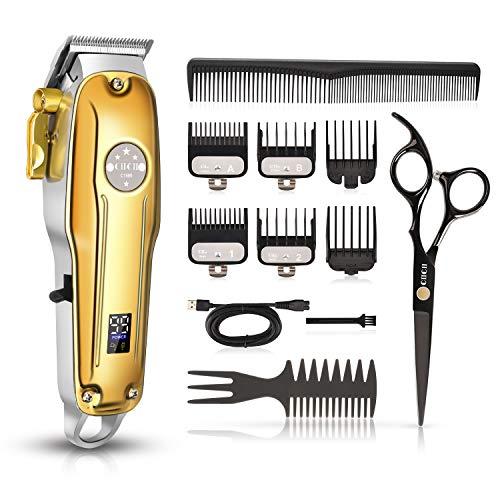 Tondeuse Cheveux Hommes Professionnelle, CIICII Kit Tondeuse Barbe & Cheveux Sans Fil (12Pcs/ Rechargeable/USB/Affichage LCD/Doré) pour Coupe de Cheveux Bricolage & Domicile & Coiffeur