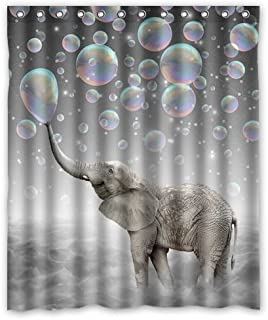 KXMDXA Cute Animal Elephant Waterproof Polyester Bath Shower Curtain Size 60x72 Inch