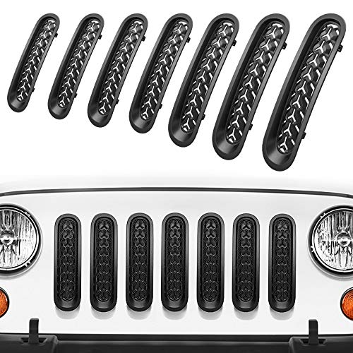 RYDONAIR Front Grill Mesh Inserts Compatible with Jeep Wrangler JK JKU Unlimited Rubicon Sahara 2007-2017, ABS Clip-in Grille Guard - Mate Black (7PCS)