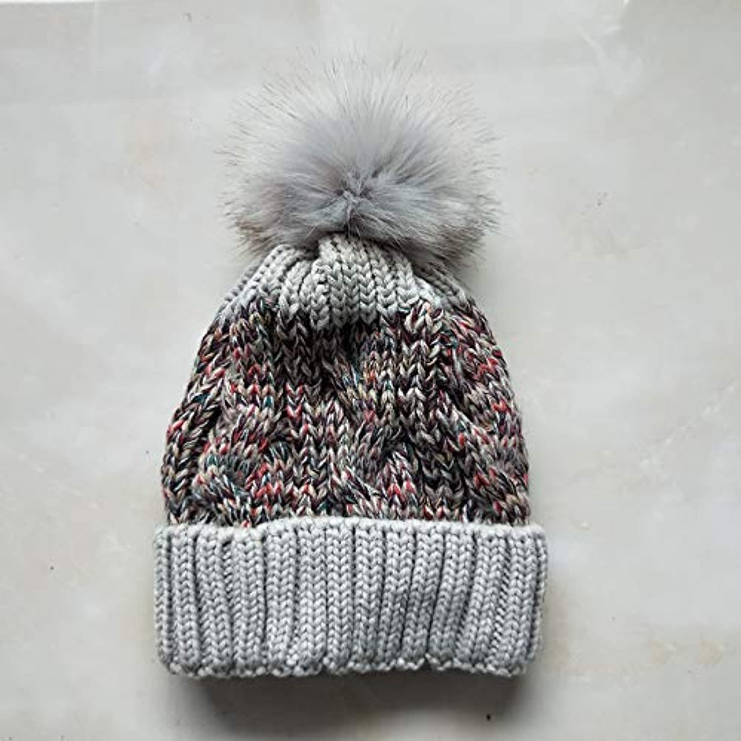Sports Hat Big Hair Ball Flower line Knit Outdoor Plus Velvet Thick Wool hat Warm Autumn and Winter Ladies hat (color   Light Grey) Outdoor Cap