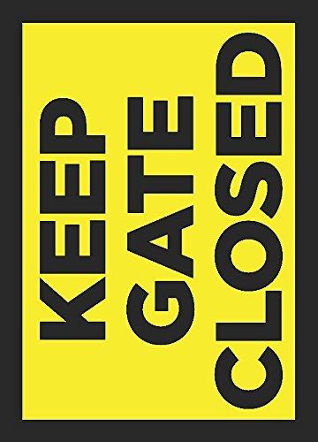 Keep Gate Gesloten Heldere Geel Private Hek Tekenen Grote Metaal -2 Pk, 12x18