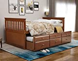 Storage Twin Daybed with Trundle and 3 Storage Drawers Wood Platform Bed Frame with Headboard Footboard Kids Bed (Walnut)