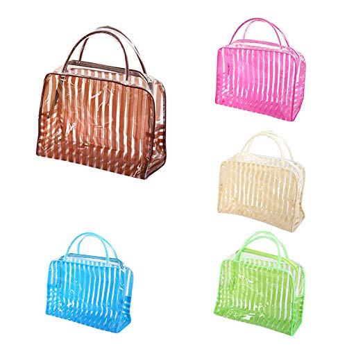 Sac à cosmétiques Transparent Stripe Makeup Bag Waterproof Travel Wash Storage24.5 * 9 * 17cm -Pink_24.5 * 9 * 17cm_