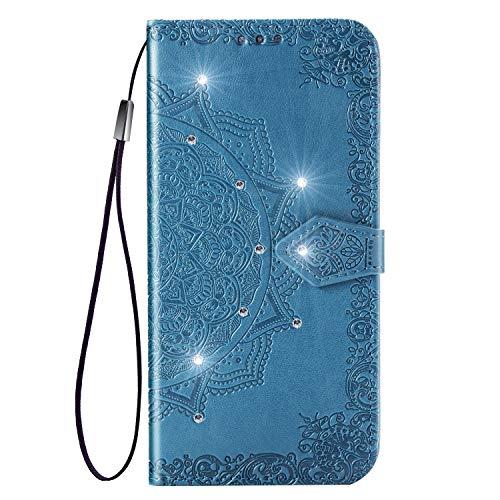 Hülle für Huawei nova 4 Hülle Leder,[Kartenfach & Standfunktion] Flip Case Lederhülle Schutzhülle für Huawei nova4 - EYSD030684 Blau