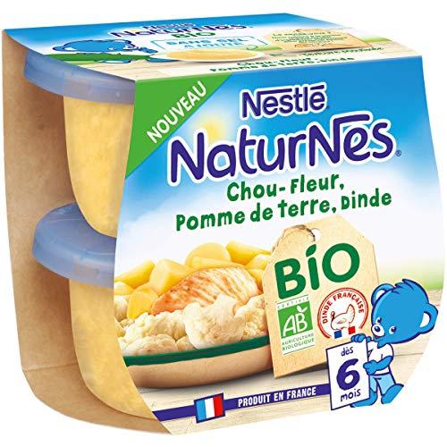 Nestlé Naturnes Bio Petits pots bébé Choufleur, Pomme de terre, Dinde Dès 6 mois 2x190g