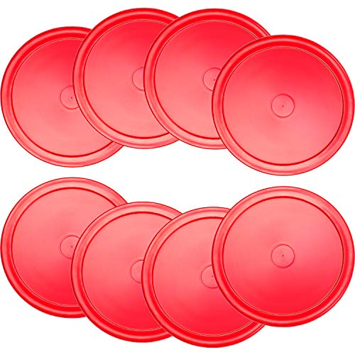 Gejoy 8 Pieces Air Hockey Pucks Replacement Round Pucks for Game Tables, Equipment, Accessories (Red, 2.5 Inch)