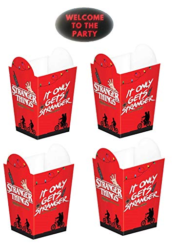 Stranger Things Party Favor Popcorn Boxes - Set of 16pcs with Party Sticker by JPMD