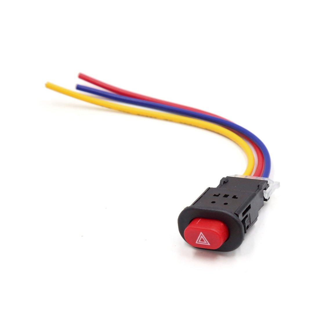 sourcing map 3 con Conexión de Cable Rojo Accesorio de Motocicleta Scooter de Pulsador Doble Flash Interruptor de Advertencia 12V 24V